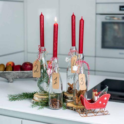 Candela conica candele colorate rosso rubino 180mm / Ø21mm 6pz