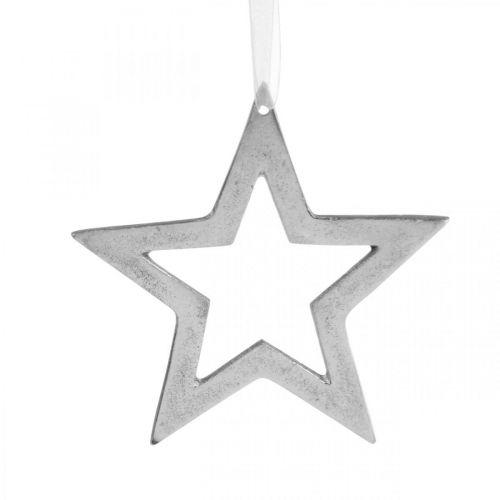 Stella per appendere decorazioni natalizie in alluminio argento 15,5 × 15 cm