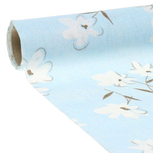 Tessuto decorativo fiori blu 30 cm x 3 m