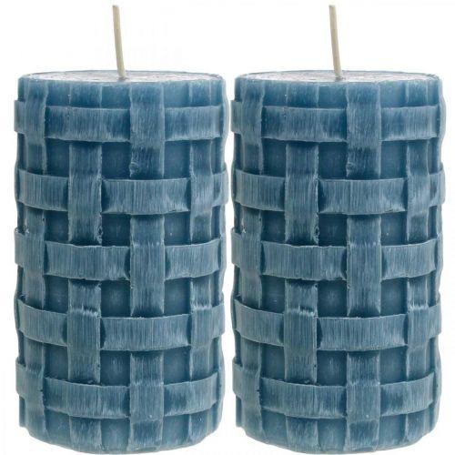 Candele pilastro blu, candele di cera rustiche, candele con motivo intrecciato 110/65 2pz
