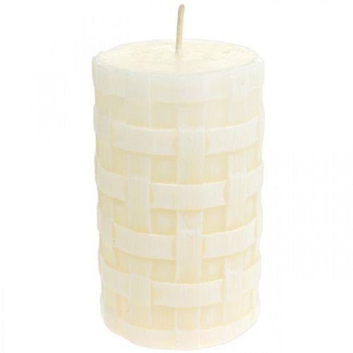 Candele rustiche, candele di cera bianca, modello di cesto di candele pilastro 110/65 2 pezzi