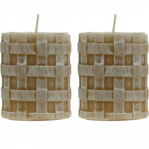 Candele pilastro Rustico Marrone 80/65 candele Decorazione rustica candela 2pz