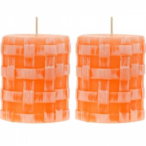 Candele pilastro candela rustica arancione 80/65 candele rustiche di cera 2pz