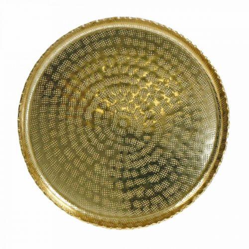 Vassoio decorativo, piastra metallica orientale, decorazione da tavola Ø25cm