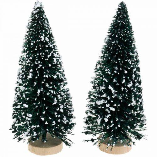 Abete decorativo con neve, decorazione natalizia, Avvento H13cm Ø5,5cm 2 pezzi
