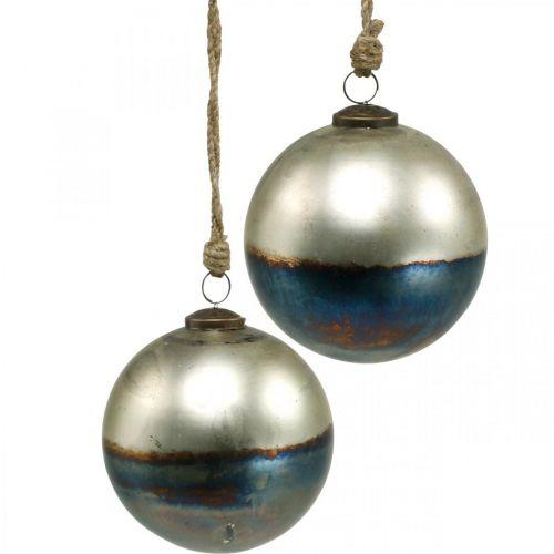 Palle di Natale palla di vetro bicolore Ø12cm blu, metallizzata 2 pezzi