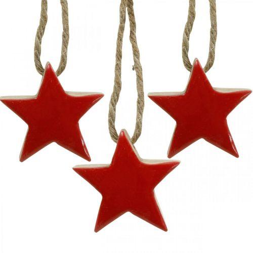 Stelle in legno Decorazioni per alberi di Natale rosse, stelle decorative naturali 5cm 24 pezzi