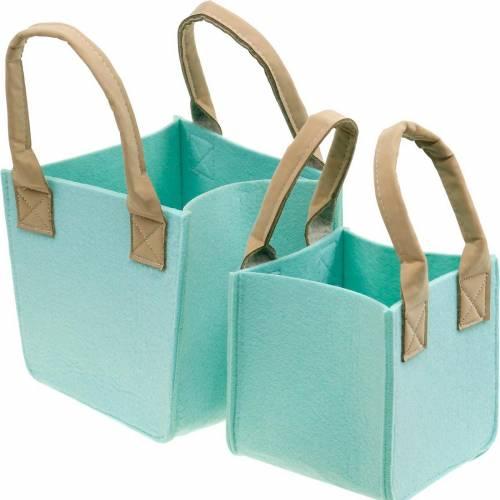 Fioriera decorativa in feltro verde menta cesto in feltro con manici set di 2 decori in feltro