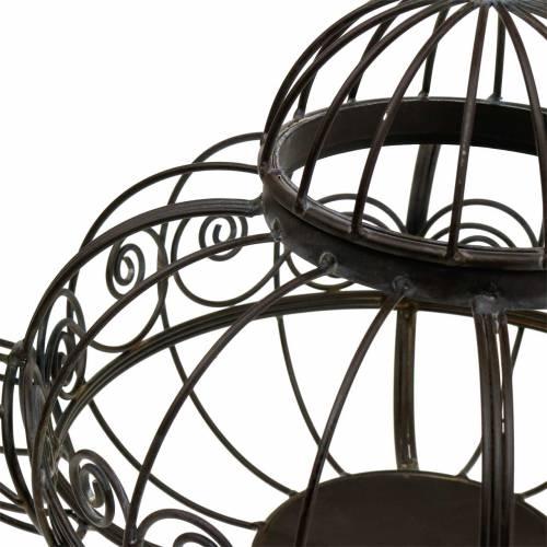 Teiera decorativa cachepot in metallo marrone scuro Ø28cm H24cm