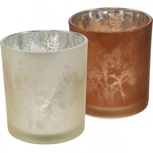 Lanterna in vetro, vetro tealight con motivo a foglia, decorazione autunnale Ø8cm H9cm 2 pezzi