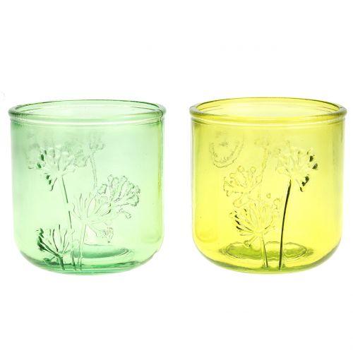 Lanterna in vetro decorativo verde / giallo Ø9cm H9cm 6pz
