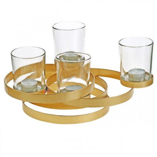 Portacandele dell'avvento in metallo tondo dorato con 4 bicchieri 34×26×18cm