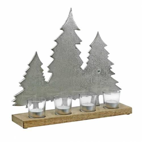 Portacandela Tannen Mango, metallo argento 38 × 34 cm 4 bicchieri portacandela