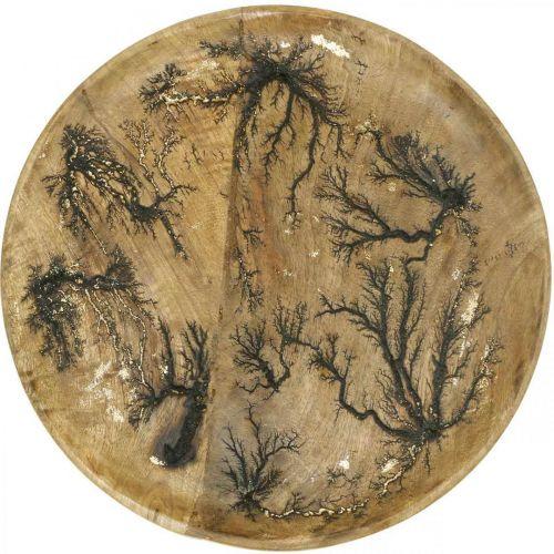 Piatto decorativo legno natura, mango effetto craquelé oro Ø30