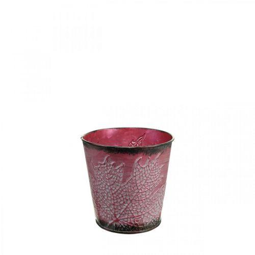Fioriera con decorazione a foglia, vaso in metallo, autunno, vaso per piante rosso vino Ø10cm H10cm
