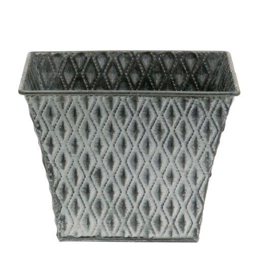 vaso di zinco con motivo a rombi H11,5cm