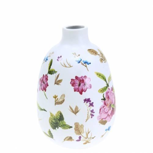 Vaso decorativo floreale bianco Ø9cm H13,8cm