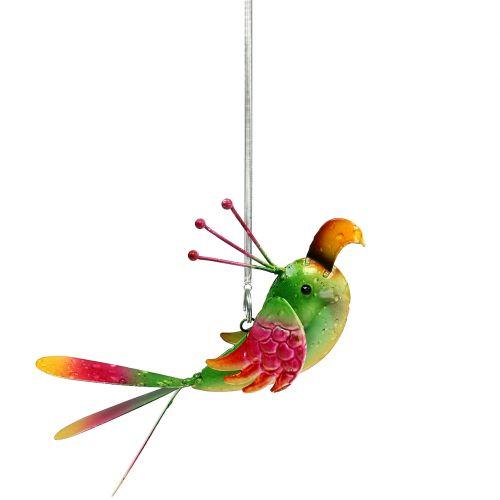 Uccello per appendere verde, rosa, arancione 18,5 cm