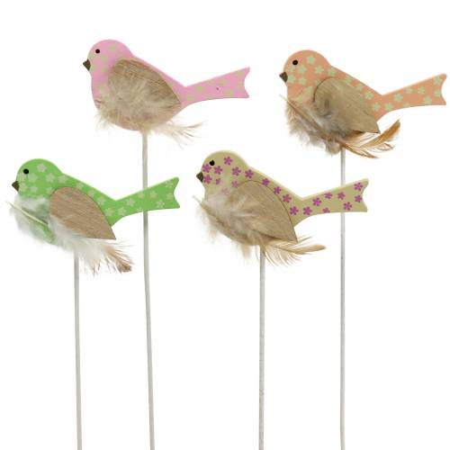 Spina decorativa uccello legno verde, rosa, giallo, arancione assortiti 7 cm x 4 cm H24 cm 16 pezzi