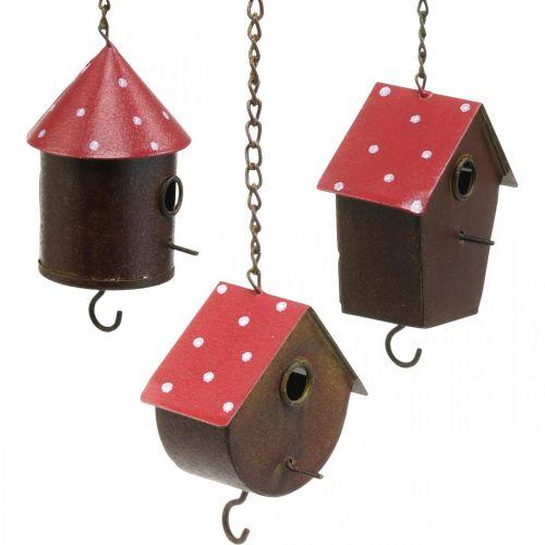 Nido decorativo, casetta per uccelli da appendere, autunno, mangiatoia per uccelli, decorazione in metallo A14–12 cm L34–37 cm