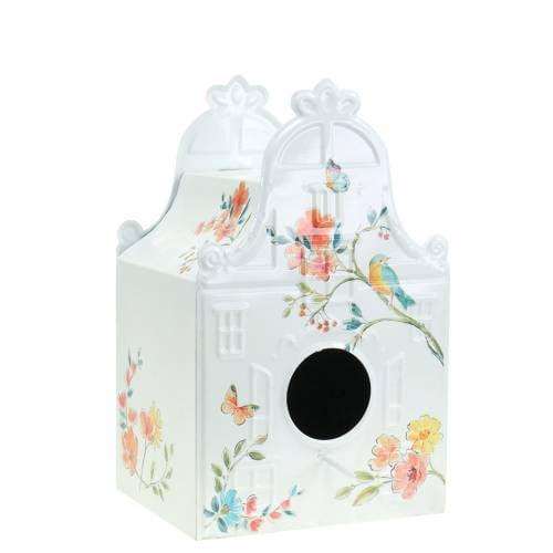 Casetta per uccelli decorativa con fiori in metallo bianco 25,5 c × 16 × 13,5 cm