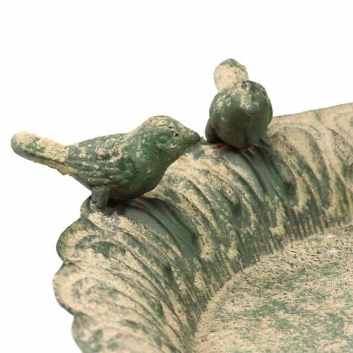 Bagno per uccelli su base in metallo verde muschio antico beige Ø28,3 cm H26,5 cm
