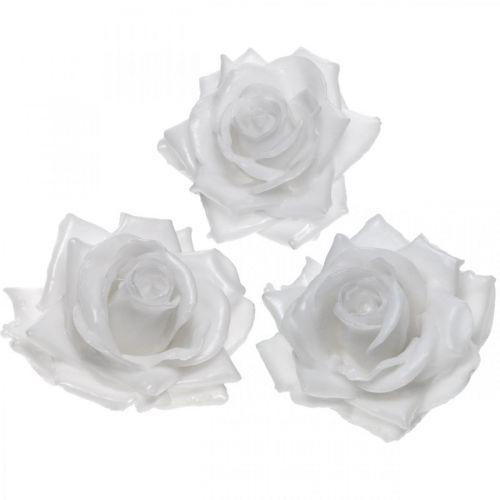 Cera rosa bianca Ø10cm Fiore artificiale cerato 6 pezzi