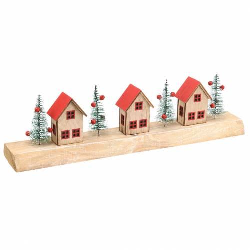 Villaggio di Natale con illuminazione a LED naturale, legno rosso 40 × 10,5 × 7 cm