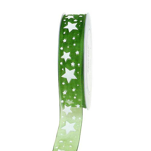 Nastro natalizio verde con motivo a stella 25mm 20m
