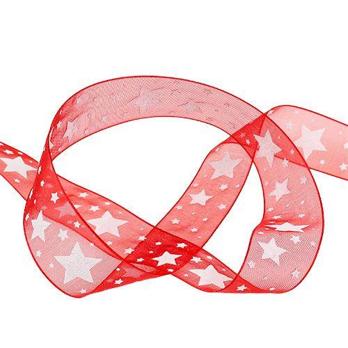 Nastro natalizio in organza rossa con stelle 25mm 20m