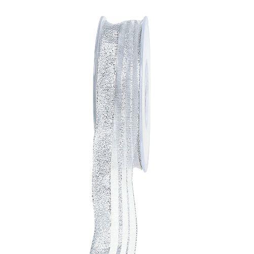 Nastro natalizio con strisce argento 25mm 20m