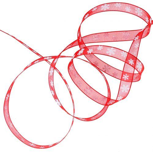 Nastro natalizio rosso con fiocco di neve 10mm 20m