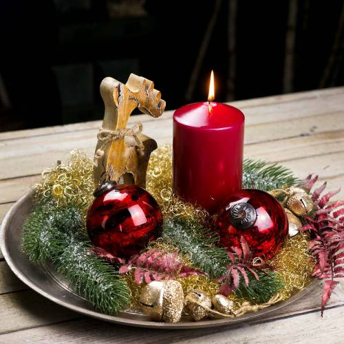 Decorazioni natalizie figura renna in legno 21 cm