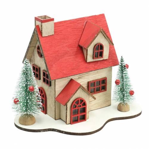 Casa di Natale con illuminazione a LED naturale, legno rosso 20 × 17 × 15 cm