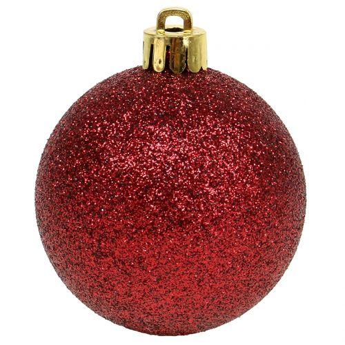 Sfera natalizia rosso rubino mix Ø6cm 10 pezzi