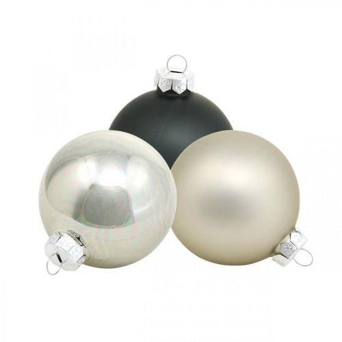 Palle di Natale, ciondoli per albero di Natale, decorazioni per l'albero nero / argento / madreperla H6.5cm Ø6cm vero vetro 24 pezzi