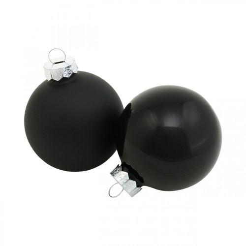 Palle per albero di Natale, ciondoli per albero, palline di vetro nere H6.5cm Ø6cm vero vetro 24 pezzi