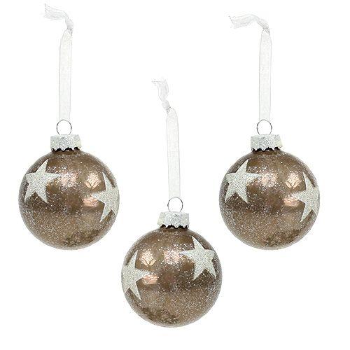 Palla di Natale in vetro con motivo a stella marrone chiaro Ø6cm 6 pezzi