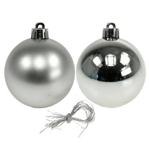 Palla di Natale plastica Ø6cm argento mix 12 pezzi
