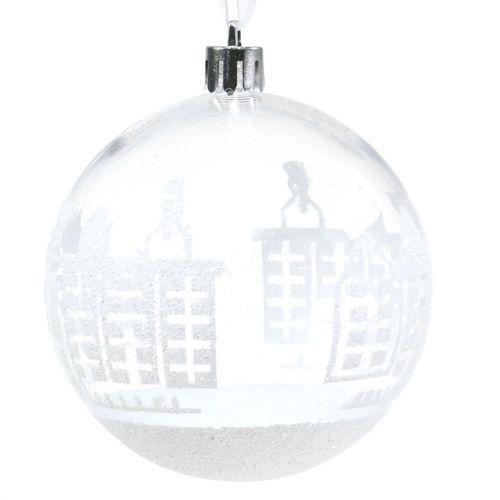 Palla di natale in plastica bianca, trasparente Ø8cm 2 pezzi