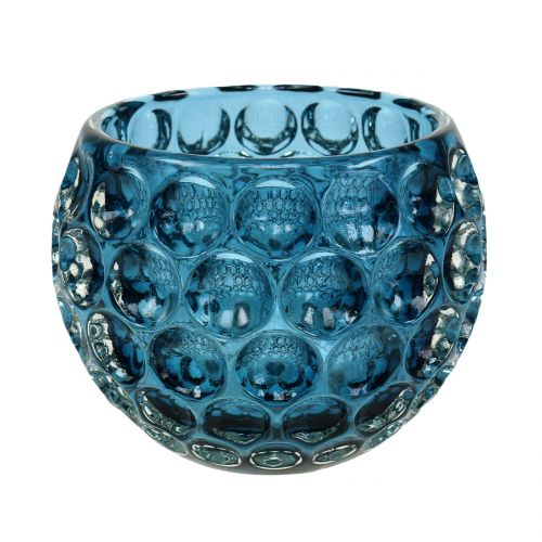 Lanterna in vetro blu scuro Ø11,5cm H9cm 1pz