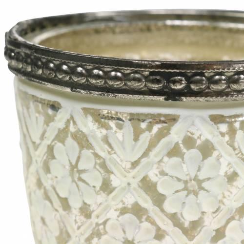 porta lumino argento del povero floreale Ø7,5cm H7,5cm 2 pezzi