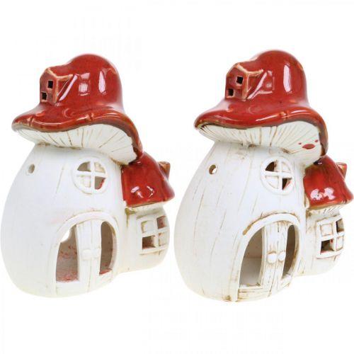 Lanterna, casa dei funghi, portacandela, decorazione autunnale, ceramica H15cm 2 pezzi