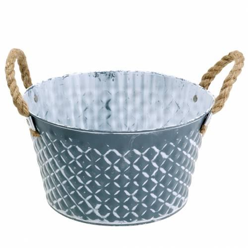 Ciotola in zinco diamante con manici in corda blu-grigio Ø25cm H14cm