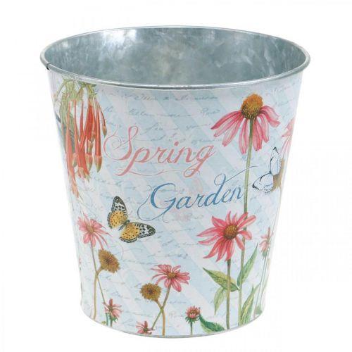 Vaso da fiori fioriera in metallo con decorazione primaverile Ø15cm H15.5cm