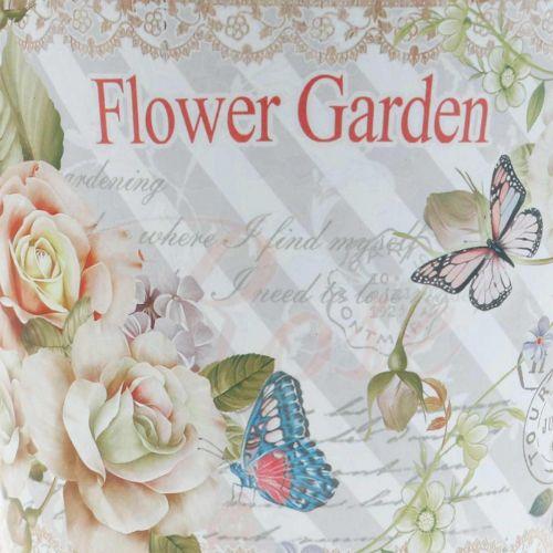 Vaso da fiori fioriera decorazione estiva con rose in metallo Ø15cm H15.5cm