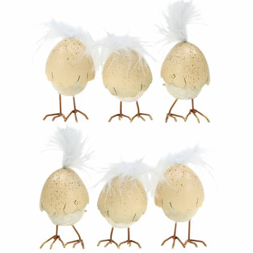 Pulcino nel guscio d'uovo bianco, crema 6 cm 6 pezzi