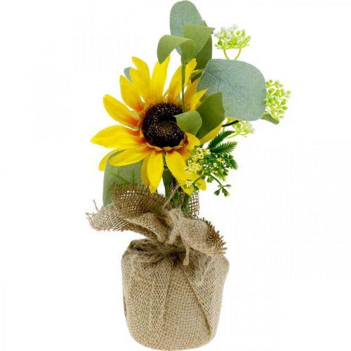Girasole artificiale, fiore di seta, decorazione estiva, girasole in un sacco di iuta