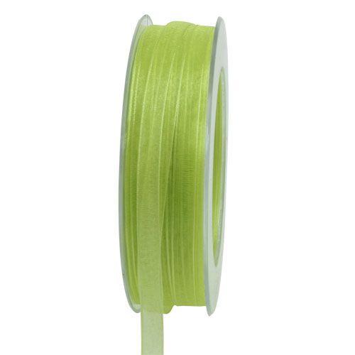 Nastro in organza con cimosa 50m verde chiaro