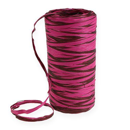 Nastro di rafia bicolore rosa-marrone 200m